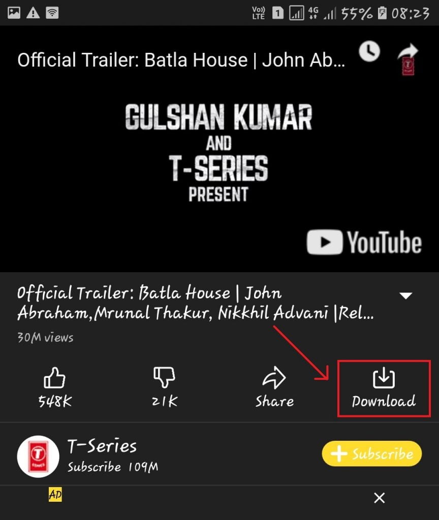 Download Button Highlighted In Snaptube App