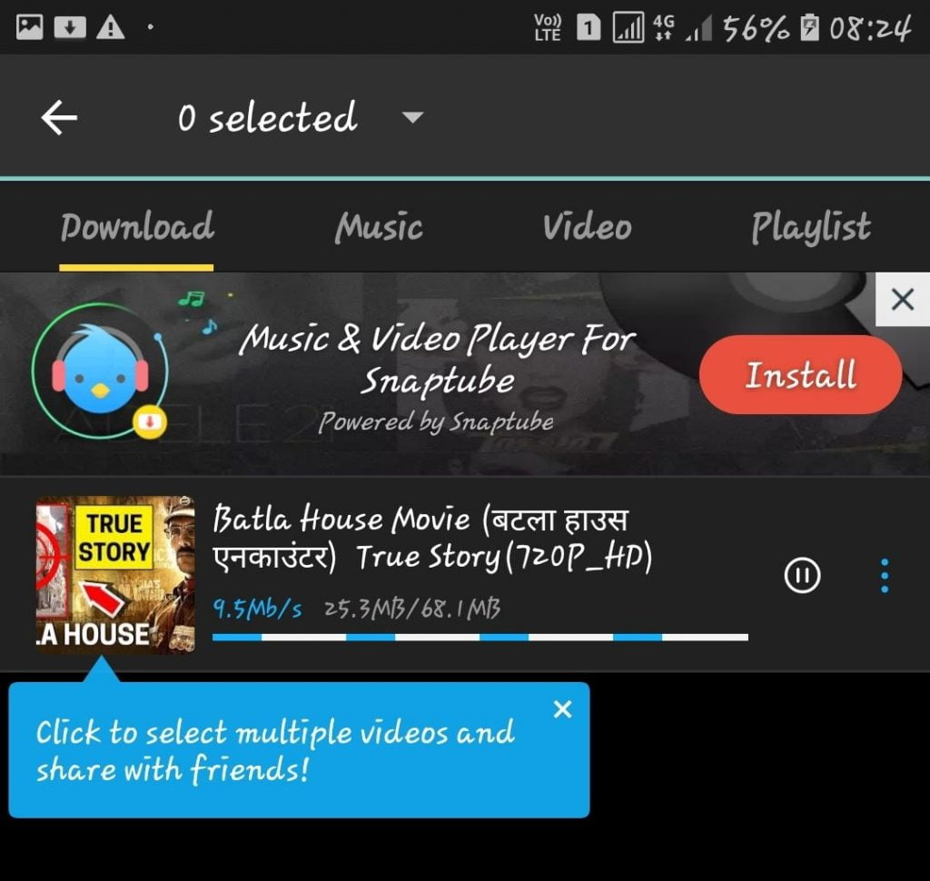 Download Option Highlighted In SnapTube