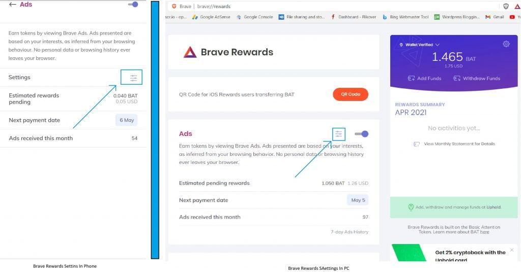 Brave Rewards Settings Highlighted